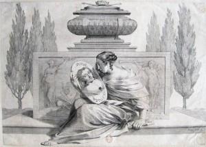 Claude Mellan, Allégorie de la France pleurant Louis XIII et consolée par Anne d'Autriche, burin, 1643