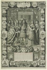 Anonyme XVIIe siècle, Louis le Grand donnant un Prince aux Bourgognes, 1683, estampe, Paris BnF
