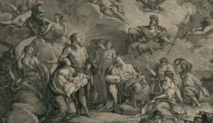Pietro Antonio Martini, Allégorie sur la Naissance de Monsieur le Dauphin, fils de Louis XVI Roy des François (détail), 1781, eau-forte et burin, 28,2cm x 41,8cm, BNF, Département des estampes, Collection de Vinck.